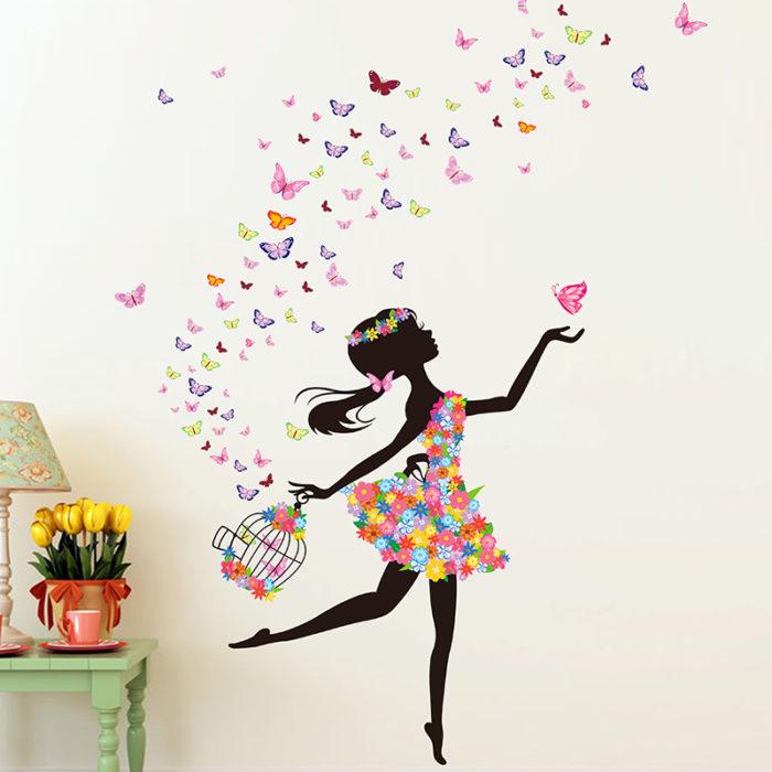 Fairy Girl Wall Stickers Diy Butterflies Flowers Birdcage Wall
