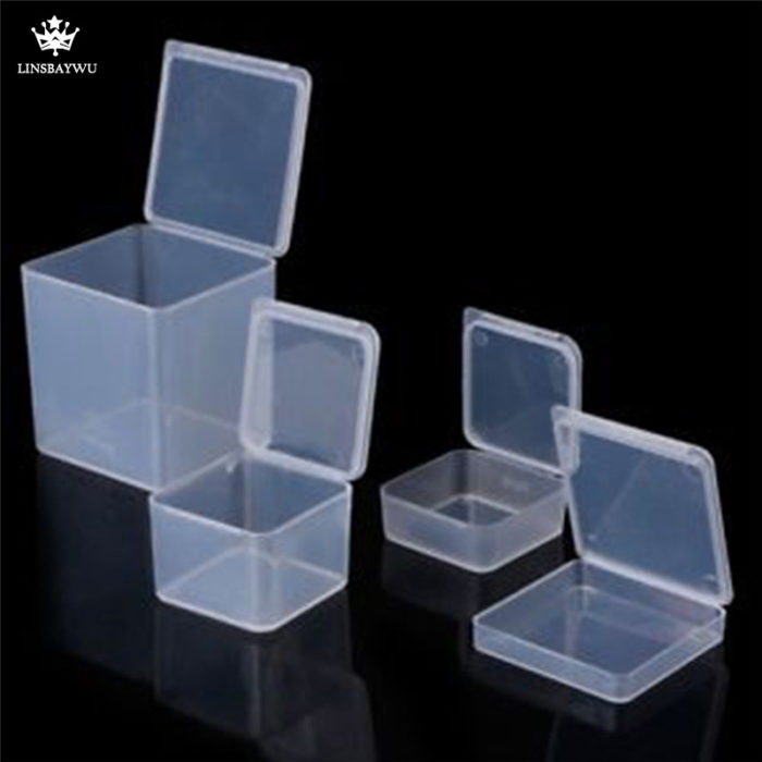 Multi Size Square Clear Plastic Jewelry Storage Boxes Beads Crafts